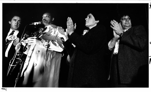 Hospitals - DeGraff<br /> Jan P., Jesse Jackson, and 2 DeGraff reps. stand on a pick-up truck bed at the rlly.<br /> photo - By Lisa Massey - 11/14/1987.