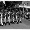 Parades - Anual labor Day Parade.<br /> The Old Fort Niagara guards march past spectators on Main Street in Youngstown at the anual Labor Day Parade.<br /> Photo - By James Neiss - 9/2/1991.