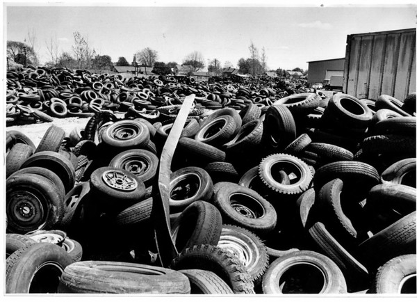 Community - Frontier Tire Disposal<br /> Frontier Tire Disposal River Road, North Tonawanda.<br /> Photo - By Ron Schifferle - 5/11/1988.