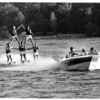 Clubs - Neptune Ski Club.<br /> Neptune Ski Club, water ski show at Lewiston Water Front. Members of the Neptune Ski Club preform a pyramid on skis.<br /> Top left to right - Karen Pascoe, Debbie Valenti. Bottom left to right Paul Hempel, Don Wilke, and Craig Grier. Driving the boat is Mike Woodward.<br /> Photo - By James Neiss - 7/4/1988.