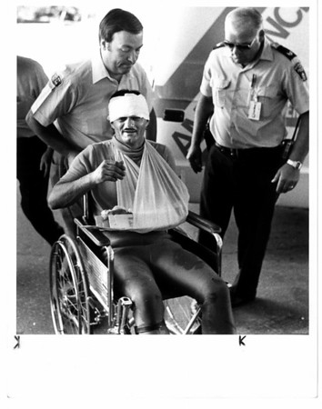 Niagara Falls, Stunters, Karel Soucek - Karel Soucek entering Greater Niagara General Hospital NF, Ontario. For a checkup after his trip over the Falls. 7/2/1984. Ron Schifferle photo.