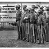 Police - NY State Troopers gahtering for instruction across from the Suscarora Bingo Hall. Smokin Joes. July 9, 1987.