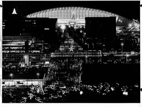 Christmas - Festival of Lights<br /> Photo taken from Skylon Tower in Canada.<br /> Photo - By Joe Eberle - 12/24/1983.