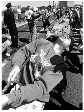 Police - Niagara Falls Police Dept.<br /> Rainbow Bridge tug of war U.S. Team.<br /> Photo - By James Neiss 5/7/1988.