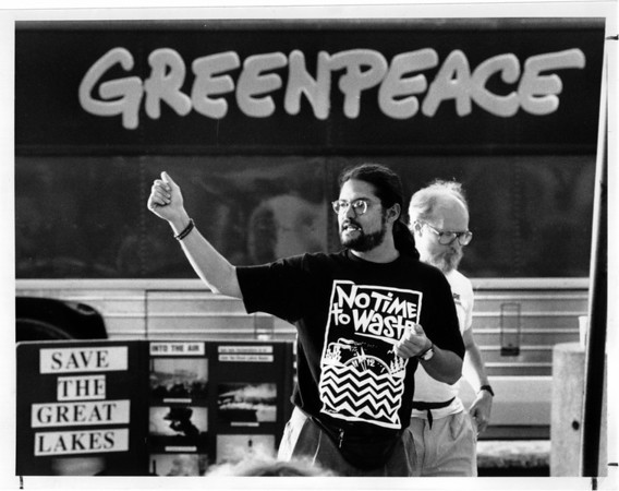 Toxic Waste - Greenpeace<br /> Jay Palter, left of the Great Lakes campaign for Greenpeace, speaks to the crowd gthered at the point walkway. Fred Millar, from friends of the Earth is in the background, right.<br /> Photo - By Elisa Olderman - 7/25/1991.
