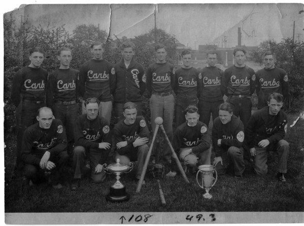 Sports - Softball<br /> International Softball Champions 1928 - 1929.<br /> Kneeling Geo Taylor, John Wilson, Clare Barrett, Bill Smale, Don Share, and Tom Burden.<br /> Standing: Herb Jewel, Harold Wright, Milford Gandt, Clarence Kehoe, Adam Wilson, Bob Wilson, Stan Watson, Joe Cleary and Cyril Ayers.<br /> Photo - By Niagara Gazette