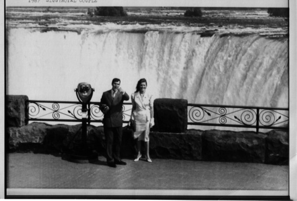 Niagara Falls - Canada<br /> Royalty at the Falls.<br /> Fergie and Andy, the Duke and Duchess of York, talk to the press during their visit to Niagara Falls. The Horeshoe Falls can be seen on the background. The couple is standing at Tablerock and ideal viewing location to see the Falls. Their stop in Niagara Falls is just part of their tour of Canada.<br /> Photo - By Will Yurman - 7/18/1987.