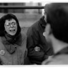 Organizations - Pro - Choice.<br /> Patty Devinney of Buffalo (pro - choice) shouts at a Pro - Lifer along side of the General Medical Tower, on Ellicott Street in Ellicott.<br /> Photo - By James Neiss - 4/23/1992.
