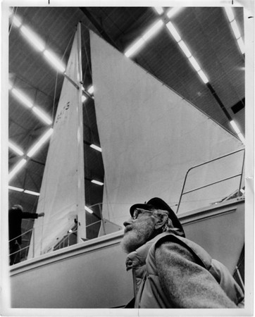 Convention Center<br /> Carsyl Yost of Youngstown<br /> 30 foot sail.<br /> $41,000.00 Catalina.<br /> Photo - By Joe Eberle - 2/4/1984.