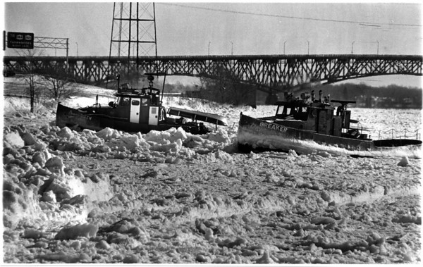 "Niagara River - Ice Breakers<br /> The first Ice of the season.<br /> The Ontario Hydro tug ""Niagara Queen"" and the New York State Power Authority tug ""Breaker"" cleared ice in front of the water intakes on the Robert Moses Parkway.<br /> Photo - By Ron Schifferle - 1/24/1987."