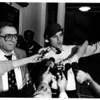 Police - Guardian Angels<br /> Angels press conference in City Hall.<br /> From left to right Niagara Falls Police Chief Anthony Fera and Curtis Slirva, Guardian Angels Founder.<br /> Photo - By Ron Schifferle - 10/5/1983.