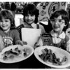 Youth - Youth Action Day<br /> Youth Action Day, Summit Park Mall.<br /> From left to right offering ants on a log (raisins, peanut butteron celery) - Krista Keller 6, Rachel Napolean 6, and Jessica Fels 7.<br /> Photo - By Ron Schifferle - 2/14/1987.