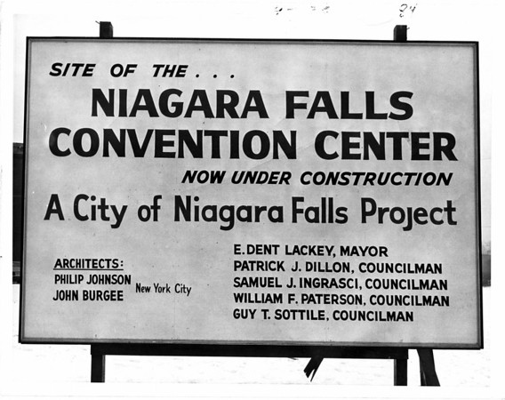 Convention Center - Construction site.<br /> The sign showing the Convention Center is under way.<br /> Photo - By L. C. Williams - 1/7/1970.