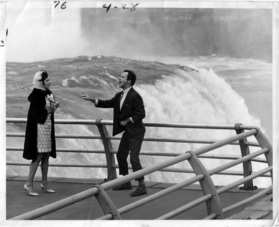 "Niagara Falls, Films, Falls movie called ""Luv"" with Jack Lemmon, Peter Falk, Severn Darden, Elaine May, Harrison Ford Director:Clive Donner  cast & crew... Synopsis: A despondent man who is about to throw himself off a bridge is saved by an old friend who invites him home...<br /> 9/7/1966"