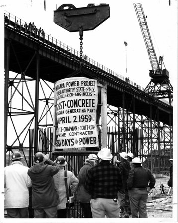 Niagara Power Project Power Authority Construction. First Concrete pour April 2, 1959.