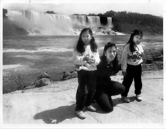 Niagara Falls - Royal Visitors<br /> From left to right - HRH Princess Siribha Chulabhorn, Professor, Dr, HRH Princess Chulabhorn, HRH Princess Adityadhorn Kittikhun. Tialand Princess visits Maid of Mist with her two daughters.<br /> Photo - By James Neiss - 5/25/1989.