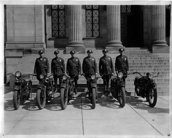 Police - Niagara Falls Police dept.<br /> 2nd from left badge no. on cap 75<br /> 3rd fom left no. 34<br /> 5th from left no. 35<br /> 6th from left no. 31.
