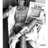 Niagara Falls, Stunters, Steven Trotter poses with souviner newspaper he bought the day before he went overr the horseshoe falls. 8/18/1985