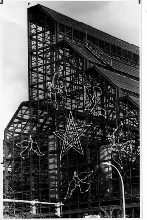 Christmas - Festival of Lights <br /> New display on the west end of the Wintergarden.<br /> Stars and Doves.<br /> Photo - By Ron Schifferle - 11/13/1990.