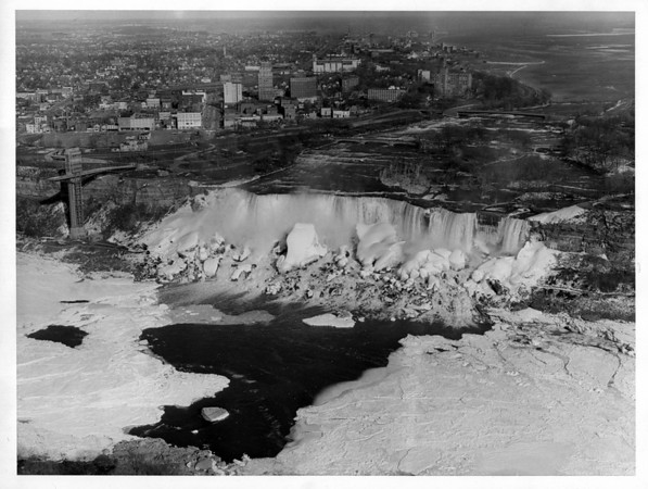 Niagara Falls - Ice Jam<br /> Phot o taken from Skylon tower in Canada.<br /> photo - By Bud Barnett - 3/28/1966.