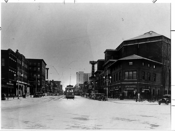 Urban Renewal Troley<br /> Falls Street Troley at Falls Street and Prospect.<br /> Photo - By Niagara Gazette.