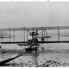 Transportation - First Hydro Aeroplane<br /> Glenn H. Curtiss, at the controls, and Lt. Theodore G. Ellyson seated in the Navy A-1 at Hammondsport on Keuka Lake, July 1, 1991.<br /> Photo - By Niagara Gazette - 7/1/1911.
