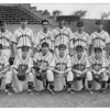 Sports - Baseball<br /> Back Row: Billy Matthews, _____, Rizzo, _____, Hugh Grimshaw, Tony Busco, Frank Hogner, Jerry Koller, Joe Alipesto, Roy Rieber, Manager Steve Mizesak.<br /> Front Row: Jack Booth, Keith Pelor, Felix Bucchiono, Jim Denlin, Jim Maldoon, Al Bower, Julian Samochi.<br /> Photo - By Roy Crogan.