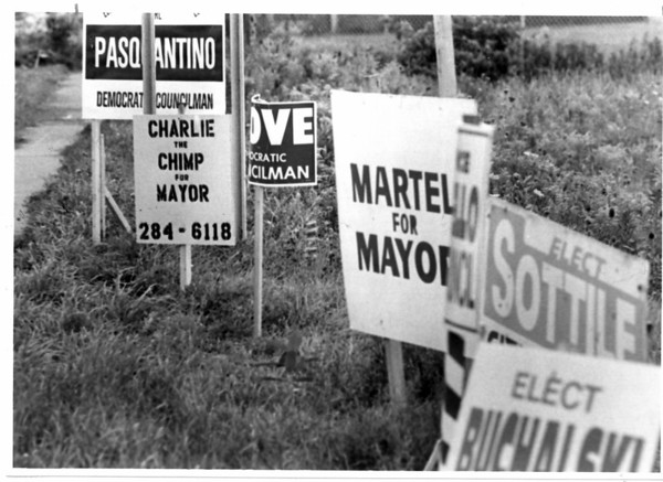 Signs <br /> Signs on Packard Road at Ferry Ave.<br /> Photo - By Ron Schifferle - 9/1/1981.