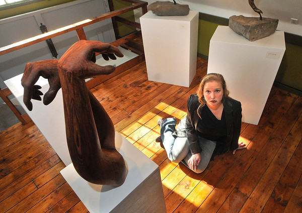 "James Neiss/staff photographerLewiston, NY - Artist Julie Silver of Lewiston in her studio gallery with a sculpture titled ""Lorien,"" after a dear friend."