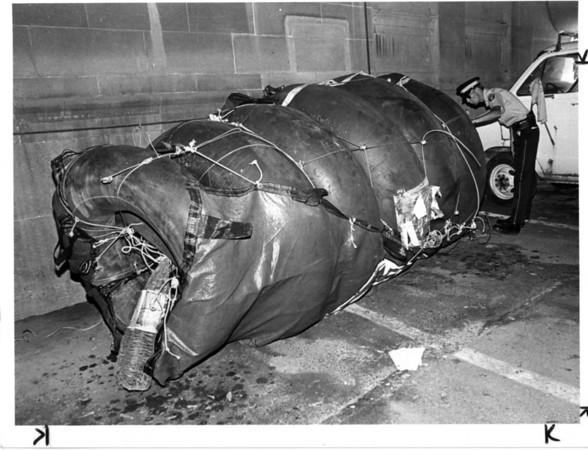Niagara Falls, Stunters, Steven Trotter - Aug 18, 1985 - John Kudla Photo. Constable John McKay of the Niagaraa Parks Police, Niagara Falls, Ont., inspects Steven Trotter's barrel.