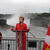 James Neiss/staff photographer<br /> Niagara Falls, NY - United States Secretary of State Hillary R. Clinton speaks at the International Joint Commission 2009 Centennial Boundary Waters Treaty Ceremony at the international boundary line, in the center of the Rainbow Bridge between the US and Canada.