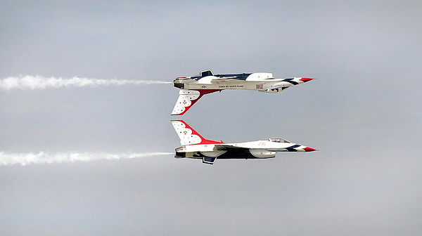 James Neiss/staff photographerLewiston, NY - The U.S. Air Force Thunderbirds perform in the skies over Niagara Falls at the Thunder of Niagara Air Show.