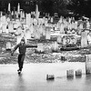 Skating in a cemetery, January 1989. Photo by Leslie Noyes.