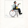 """Print of """"The Paycheck"""", by Norman Rockwell, 1950s.<br /> Norman Rockwell gave Goodwill this painting in celebration of their fiftieth anniversary. The wheelchair-bound worker, wearing work overalls and cap and carrying his metal lunchbox, smiles with delight at the paycheck in his hand. The other hand turns the chair's wheel, with such power that he kicks up dust as he speeds along."""