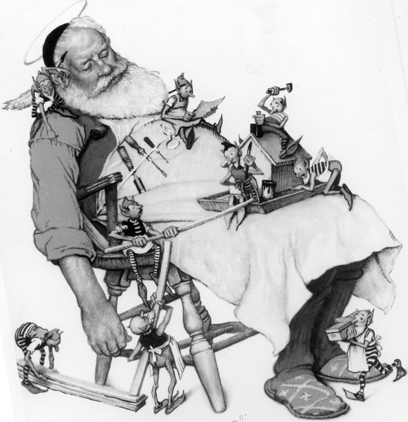 "Copy photograph of ""Santa and his Helpers"" by Norman Rockwell, reproduced as a greeting card by Hallmark Cards in 1948. Hallmark Cards, Inc."