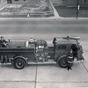 Toronto Pumper 7 and crew as seen from the 2nd floor of their new quarters on August 15th, 1956. <br /> <br /> From the collection of Jon Lasiuk.