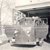 Toronto Fire Pumper 34 around 1960. Showing the old swing-out station doors. TFD photo. <br /> <br /> From the collection of Jon Lasiuk.