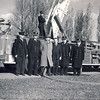Toronto Aerial 1's new 700-series American LaFrance on November 8th, 1949. <br /> <br /> l. to r. J. (Smokey) Bennett (driver), District Chief Bill McCallum, Capt. F. Stevenson (on pedestal), J. Anderson, F. Parsons, Dep. Chief Al Steen, Fire Chief Peter Herd<br /> <br /> From the collection of Jon Lasiuk