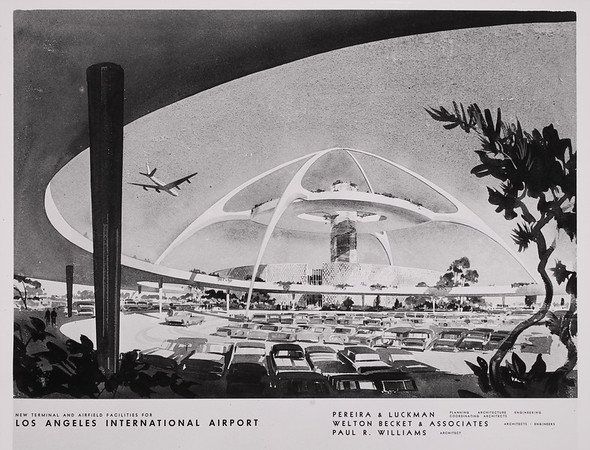 Architects' artistic rendering of the Theme Building that was in the planning stages to be built at Los Angeles International Airport. The LAX development plan was a joint venture bewteen Pereira and Luckman, Welton Beckett and Associates and Paul R. Williams.