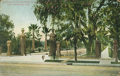 Entrance to Chester Place, Los Angeles, California.