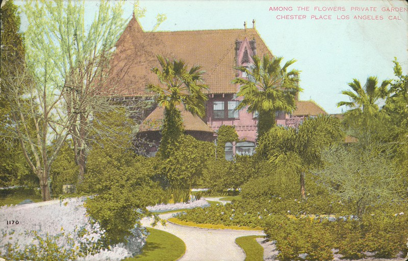 1170. Among the flowers, private garden, Chester Place, Los Angeles, California.