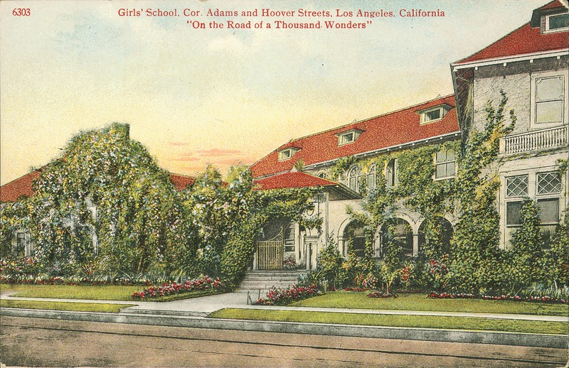 Girls' school, corner of Adams and Hoover Streets, Los Angeles, ca.1915-1942
