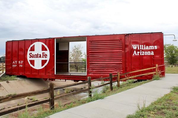 Boxcar converted to footbridge - Williams, Arizona (2018)