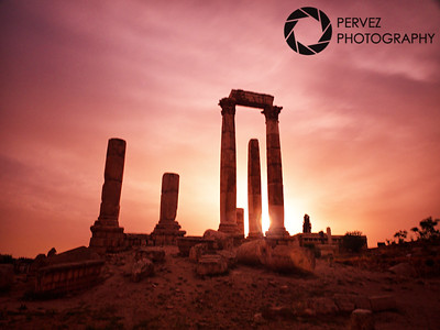 Temple of Hercules at the Amman Citadel as the sun goes down