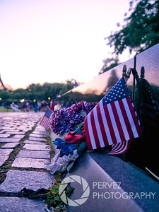 Beginning of the Vietnam War Memorial in Washington, DC as the sun goes down on Memorial Day.