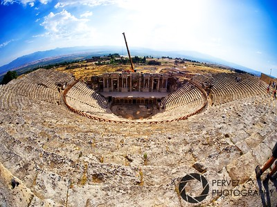 View of the arena in Ephesus (Turkey) through the fisheye lens. Paul supposedly preached here in the early days of Christianity.