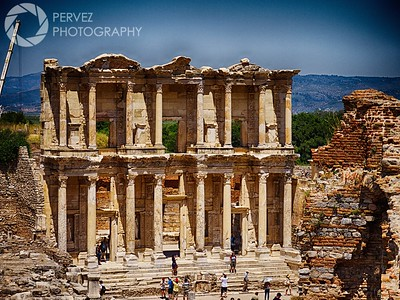Shot of the Library of Celsus in the distance in Ephesus, Turkey