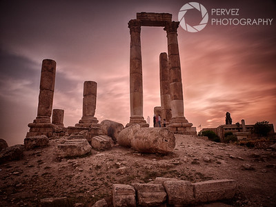 Temple of Hercules at the Amman Citadel in Jordan near sunset