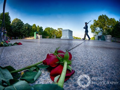 Arlington National Cemetery - Tomb Of The Unknown Soldier on Memorial Day with the fisheye lens.