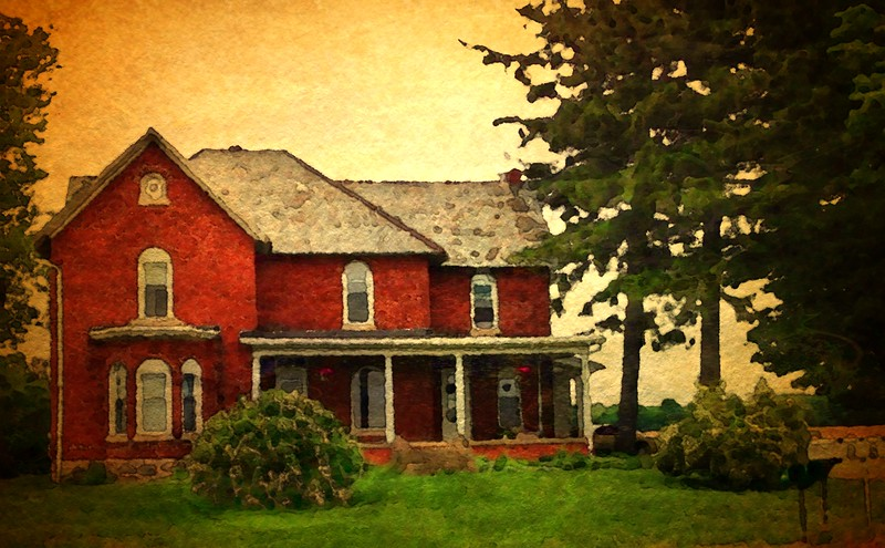 Water Color effect on old Farm Home